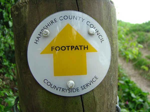 Hampshire County Council footpath sign.