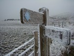 Rime covered footpath sign