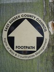 East Sussex County Council footpath sign.  Near Arlington Reservoir.