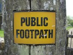 Rye area Public Footpath sign