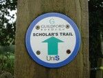 The Scholars Trail sign nr Godalming, Surrey.