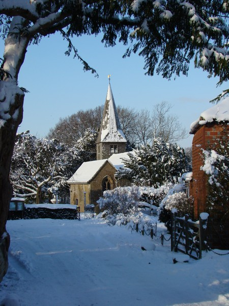 Itchingfield church in snow